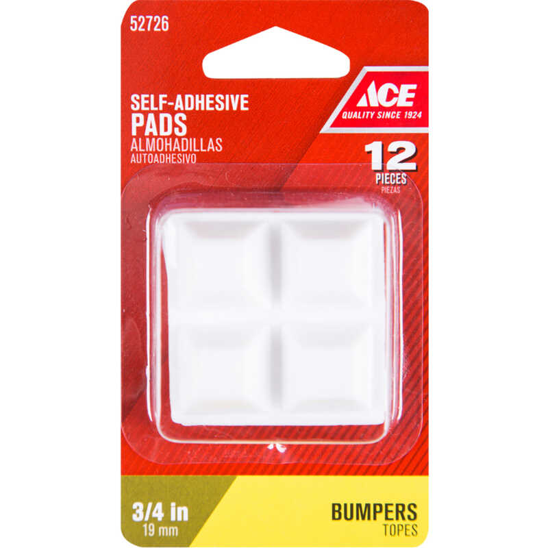 Ace  Vinyl  Bumper Pads  White  Square  3/4 in. W x 3/4 in. L 12 pk Self Adhesive