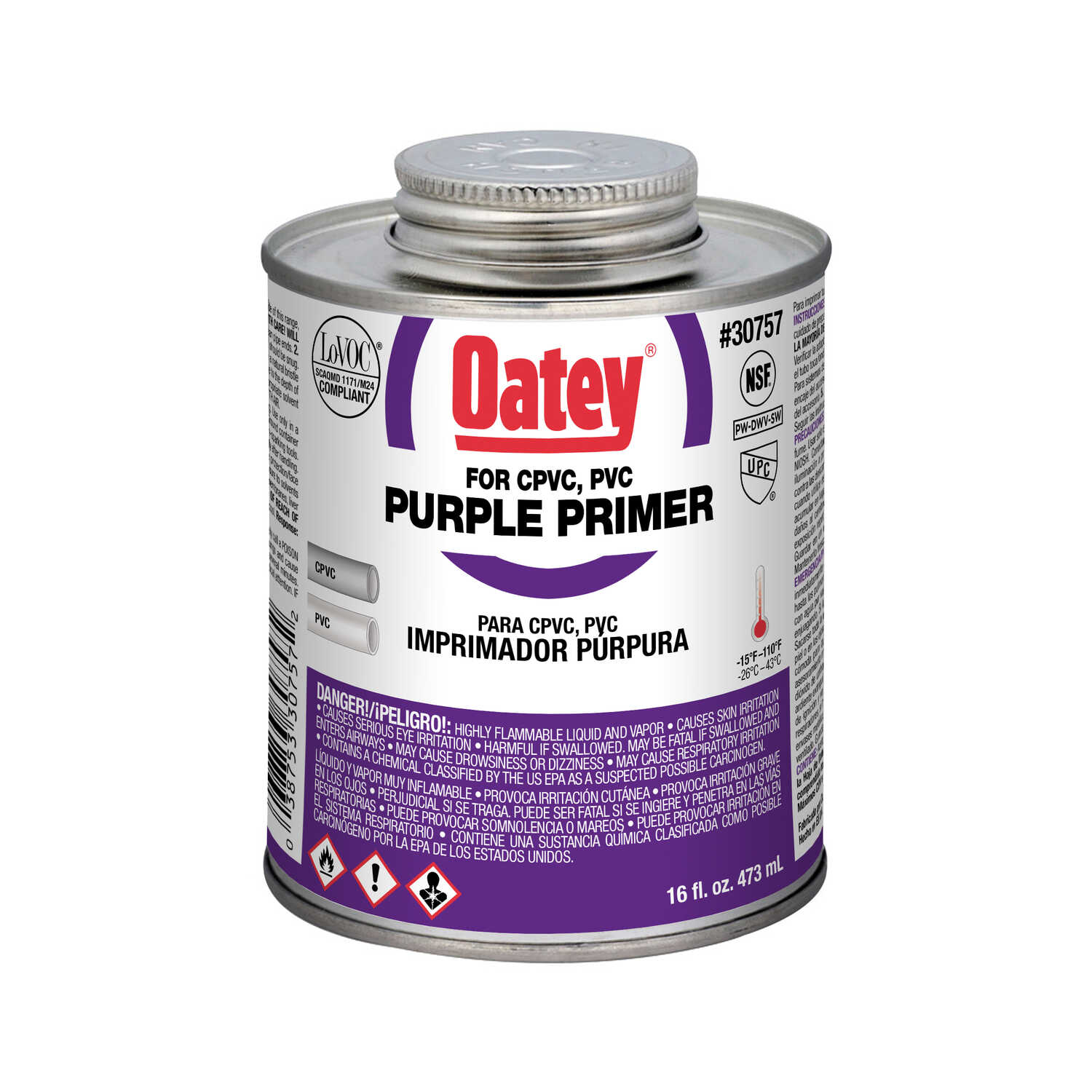 Oatey  Purple  Primer and Cement  For CPVC/PVC 16 oz.