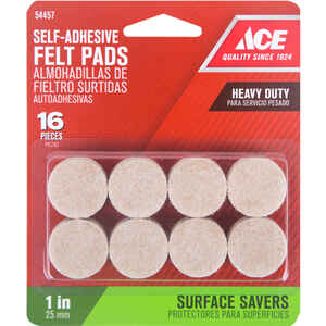 Ace  Felt  Self Adhesive Pad  Brown  Round  1 in. W 16 pk