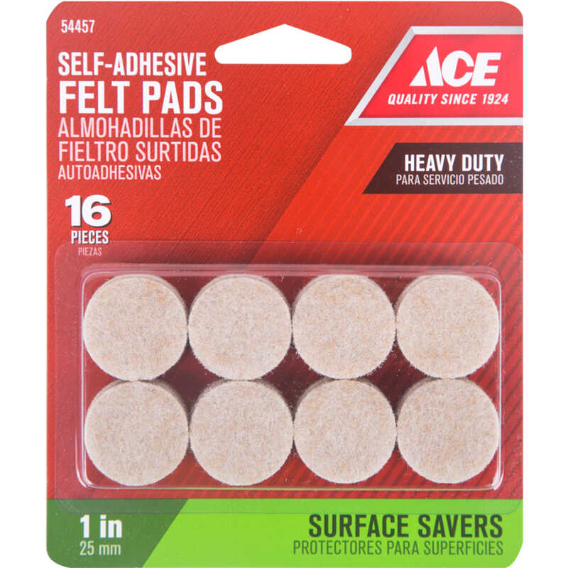 Ace  Felt  Pad  Brown  1 in. W Round  Self Adhesive 16 pk