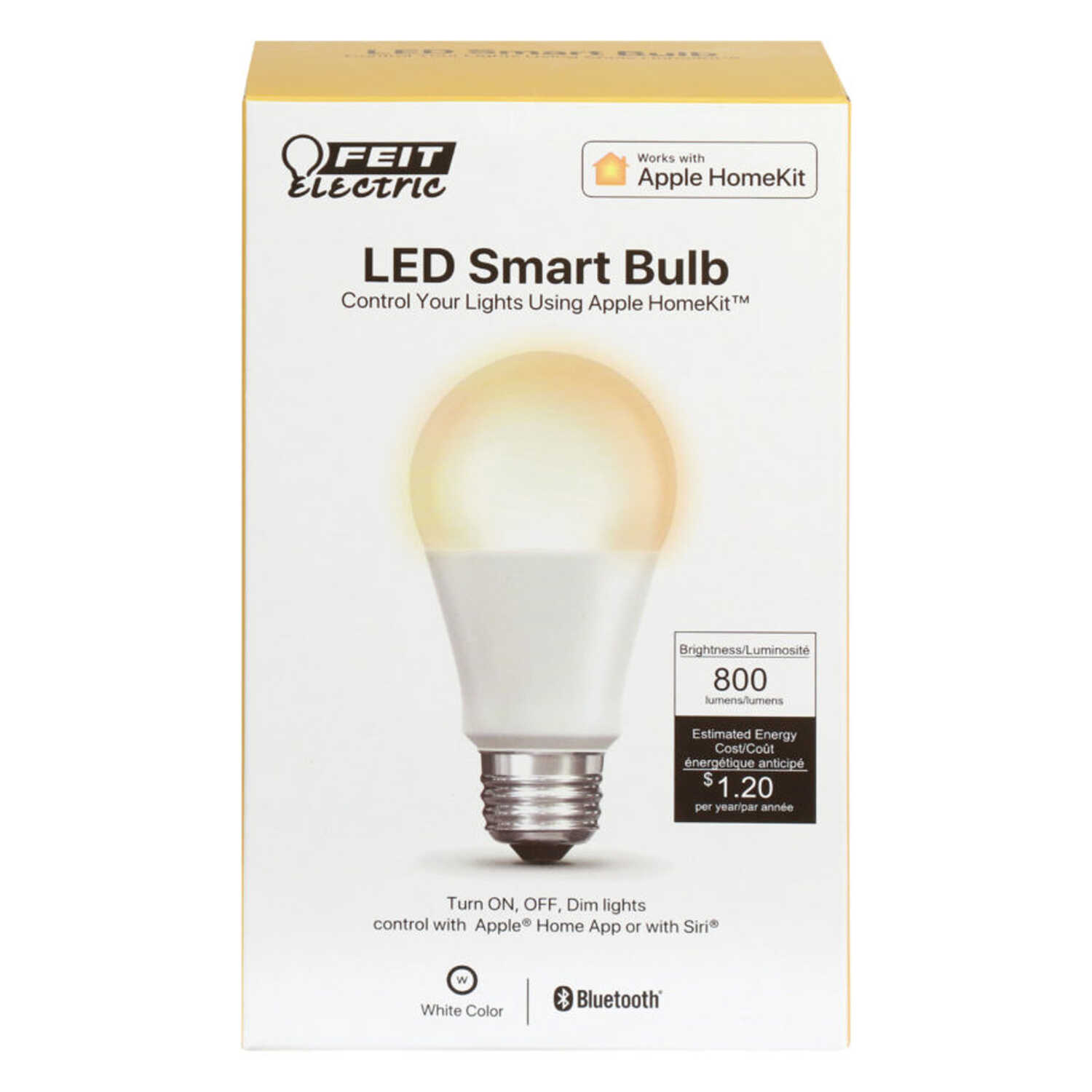 FEIT Electric  10 watts A19  LED Smart Bulb  800 lumens White  A-Line  60 Watt Equivalence