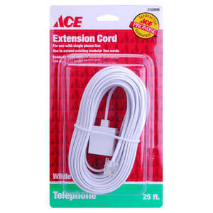 Ace  25 ft. L White  Modular Plug to Jack Extension Line Cord