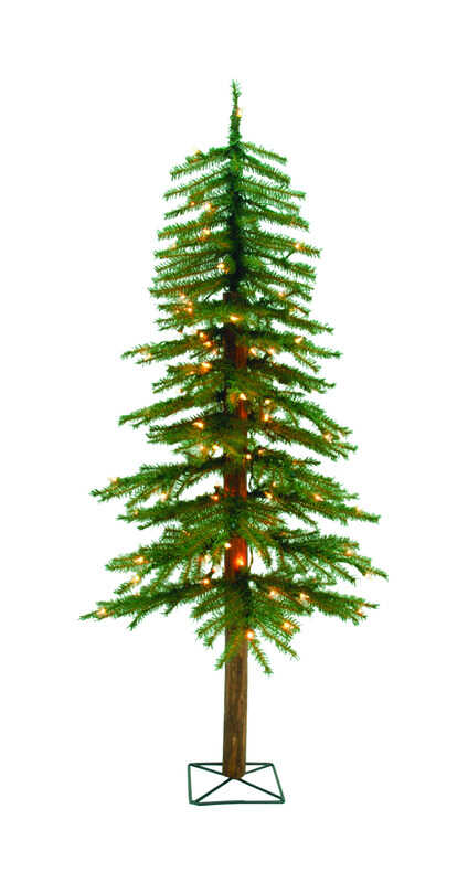 Holiday Bright Lights  Clear  Prelit 4 ft. Alpine  Artificial Tree  100 lights 265 tips