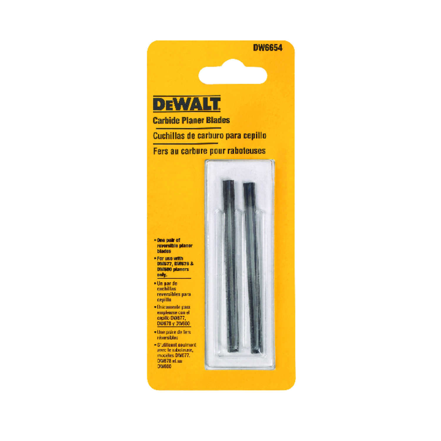 DeWalt  3-1/4 in. L Carbide  Planer Blade  2 pk Double-Edged
