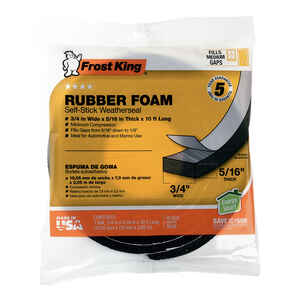 Frost King  Black  Rubber Foam  Weather Stripping Tape  For Auto and Marine 10 ft. L x 5/16 in.
