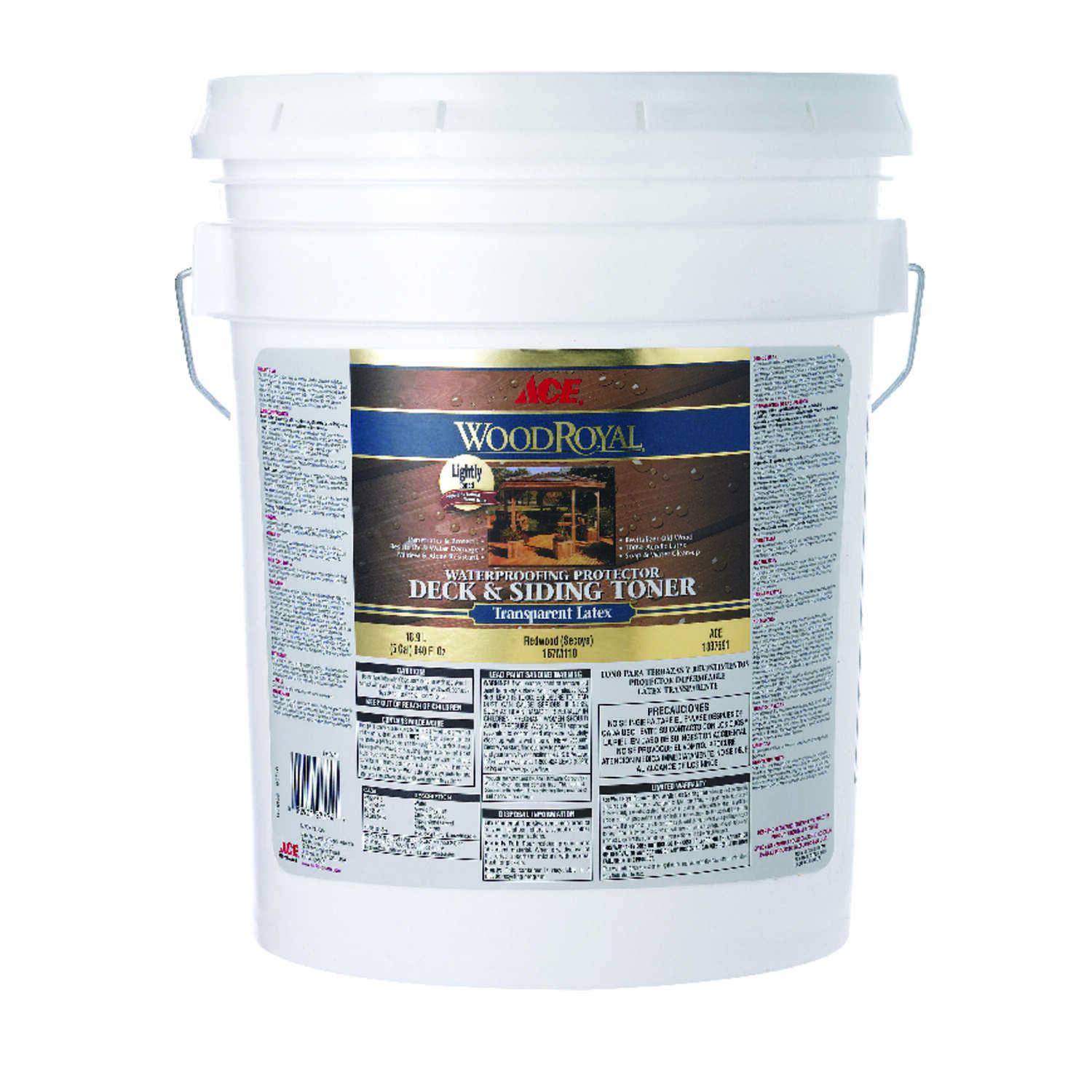 Ace  Wood Royal  Transparent  Redwood  Acrylic  Deck and Siding Toner  5 gal.