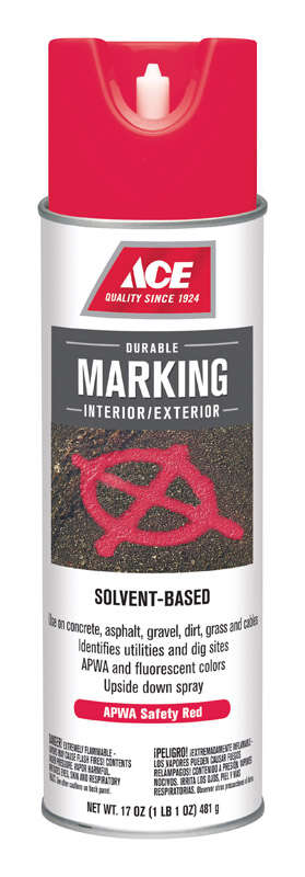 Ace  Sovent-Based  Red  Traffic Zone Marking Paint  17 oz.