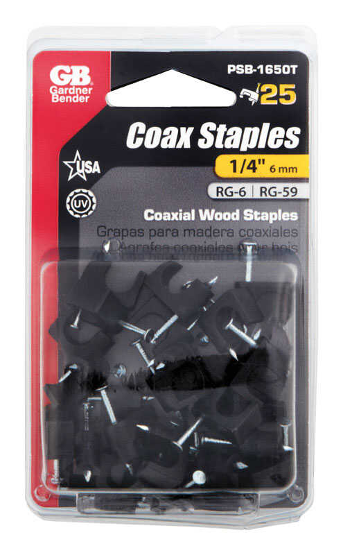 Gardner Bender  1/4 in. W Plastic  Insulated 25 pk Coaxial Staple