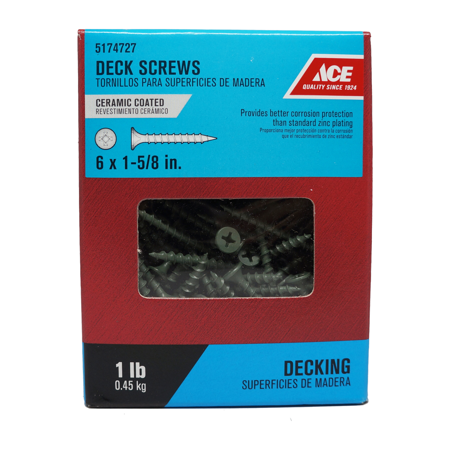 Ace  No. 6   x 1-5/8 in. L Phillips  Ceramic Coated  Steel  Deck Screws  1 lb. Bugle  230 each