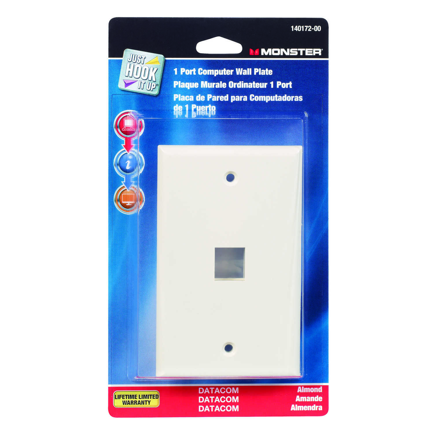 Monster Cable  Just Hook It Up  1 gang Almond  Multi-Media Keystone Wall Plate  1 pk