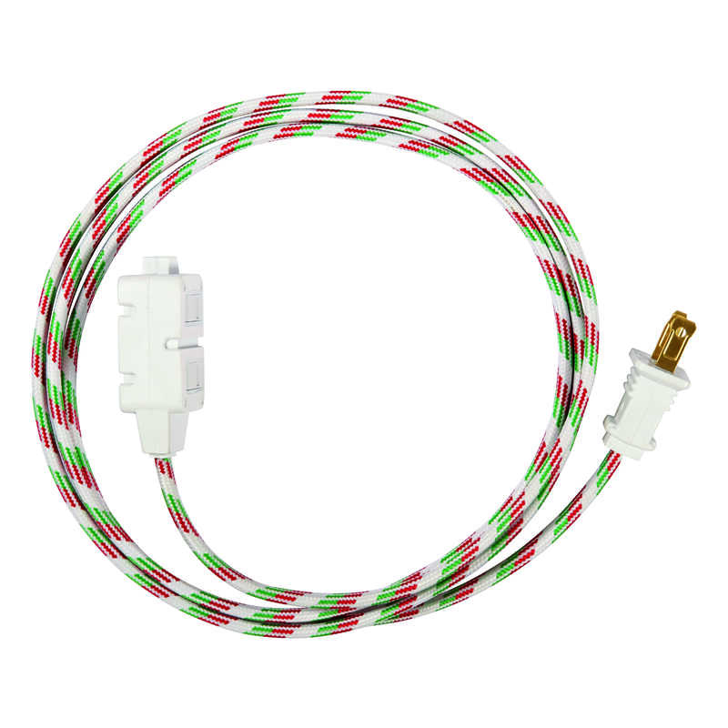 FabCordz  Indoor  6 ft. L Green/Red/White  Extension Cord  16/2