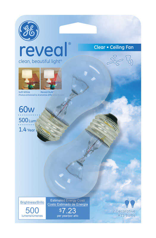 GE Lighting  Reveal  60 watts A15  Incandescent Bulb  500 lumens Warm White  2 pk A-Line