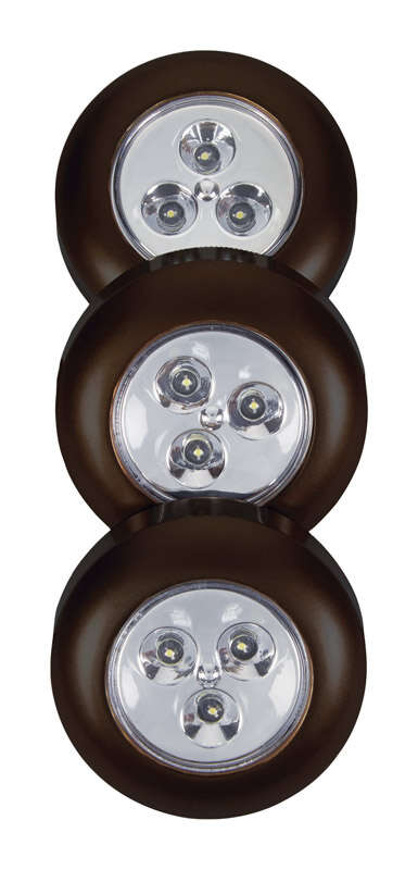 Fulcrum  LIGHT IT  Black  Battery Powered  LED  Puck Light  3 pk