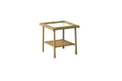 Living Accents Palmaro Square Tan Glass/Steel Side Table