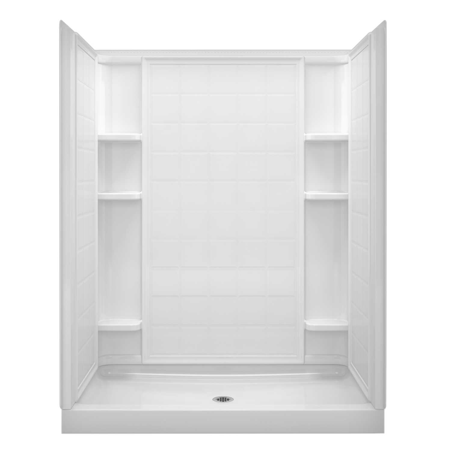 Sterling  Ensemble  75-3/4 in. H x 34 in. W x 60 in. L White  Shower Back Wall  One Piece  Square