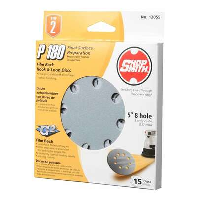 Shopsmith 5 in. Aluminum Oxide Hook and Loop Sanding Disc 180 Grit Fine 15 pk