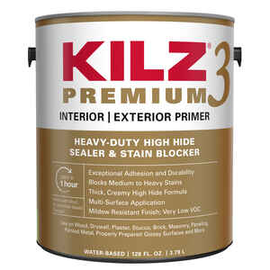 Kilz  Premium  Mildew-Resistant  White  Water-Based  Primer and Sealer  For Brick, Painted Metal, Gl