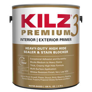 Kilz  Premium  White  Mildew-Resistant  Water-Based  Primer and Sealer  For Brick, Painted Metal, Gl