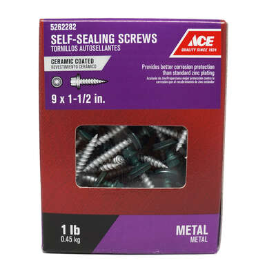 Ace No. 9 x 1-1/2 in. L Hex Washer Head Ceramic Steel Self-Sealing Screws 1 lb.