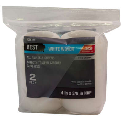Ace  Best  Woven  3/8 in.  x 4 in. W Trim  Paint Roller Cover  2 pk
