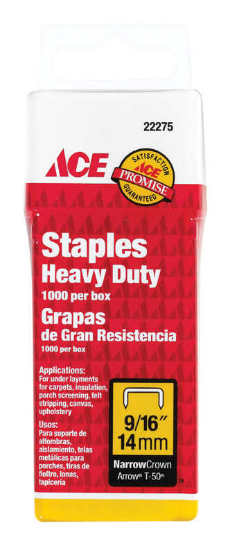 Ace  9/16 in. L Steel  Narrow Crown  Heavy Duty Staples  1000 pk