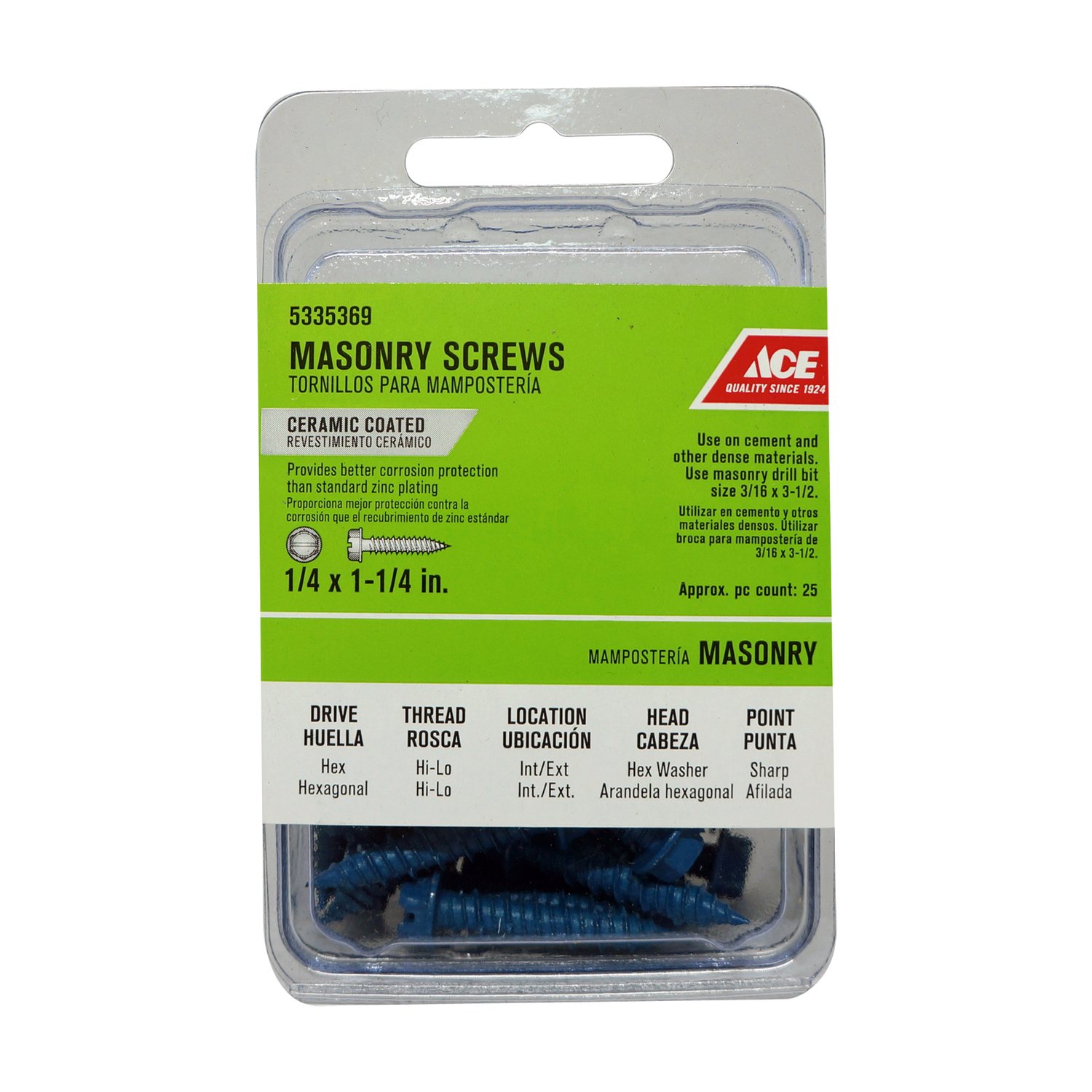 Ace  1/4 in.   x 1-1/4 in. L Slotted  Flat Head Ceramic  Steel  Masonry Screws  25 pk