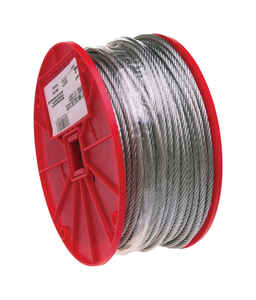 Campbell Chain  Galvanized  Galvanized Steel  1/8 in. Dia. x 500 ft. L Aircraft Cable