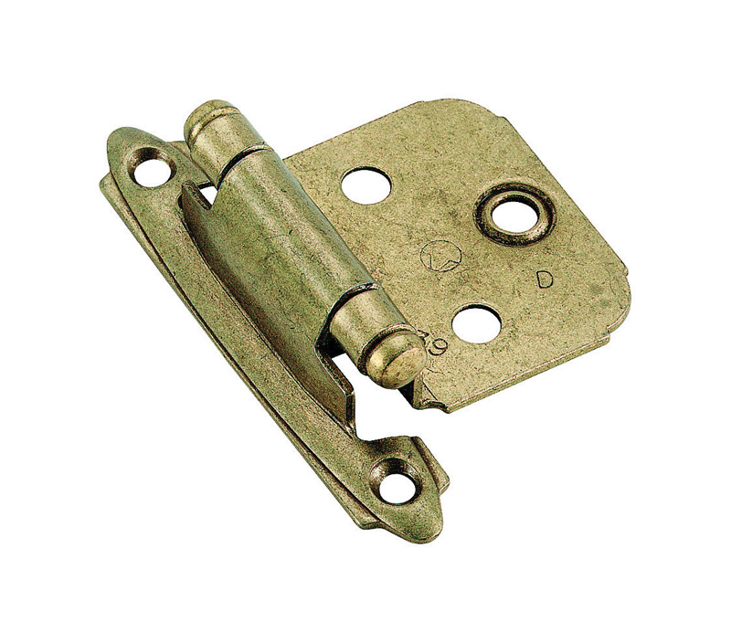Amerock  1-13/16 in. W x 2-3/4 in. L Burnished Brass  Steel  Self-Closing Hinge  2