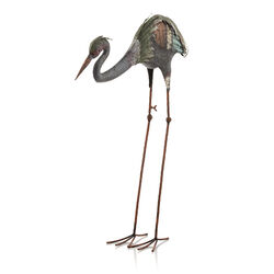 Alpine Metal Multicolored 31 in. H Crane Stake Statue