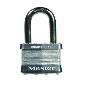 Master Lock  1-1/2 in. H x 7/8 in. W 4-Pin Cylinder  Laminated Steel  Padlock  1 pk Keyed Alike