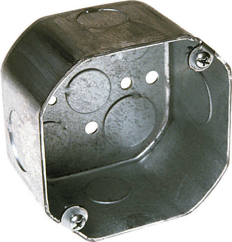 Raco  Octagon  Steel  1 gang Electrical Box  Gray  4 in. 1 Gang