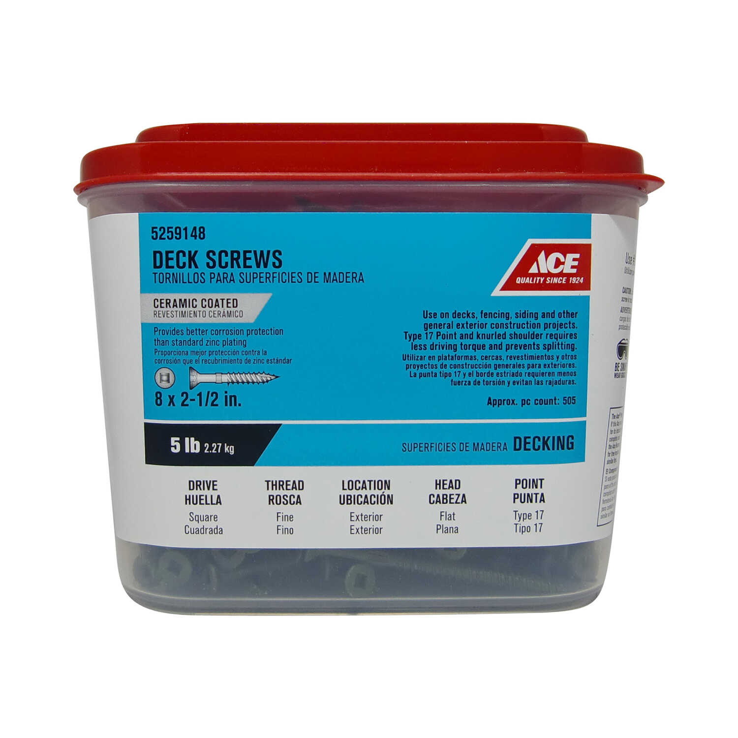 Ace  No. 8   x 2-1/2 in. L Square  Flat Head Ceramic Coated  Premium Deck Screws  5 lb. 505 pk Steel
