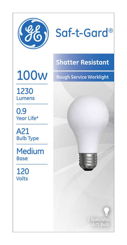 GE Lighting  Saf-T-Gard  100 watts A21  Incandescent Bulb  1230 lumens White  A-Line  1 pk
