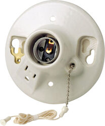 Leviton  Porcelain  Medium Base  Pull Chain Socket w/Outlet  1 pk
