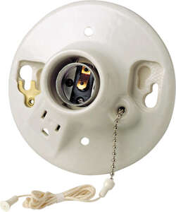 Leviton  Porcelain  Pull Chain Socket w/Outlet  1 pk