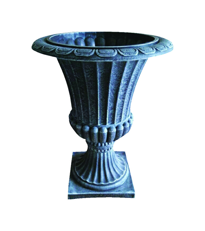 Infinity  21-1/4 in. H Gray  Polyresin  Grecian Urn  Planter