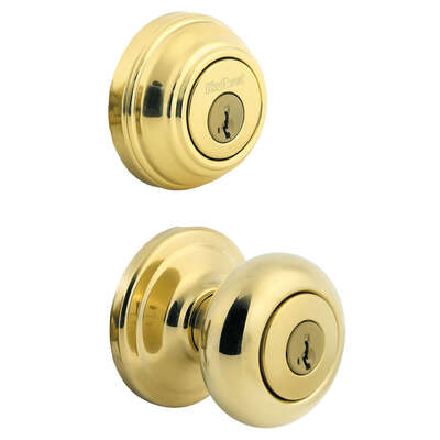 Kwikset  Juno  Polished Brass  Entry Knob and Single Cylinder Deadbolt  ANSI/BHMA Grade 2  KW1  1-3/