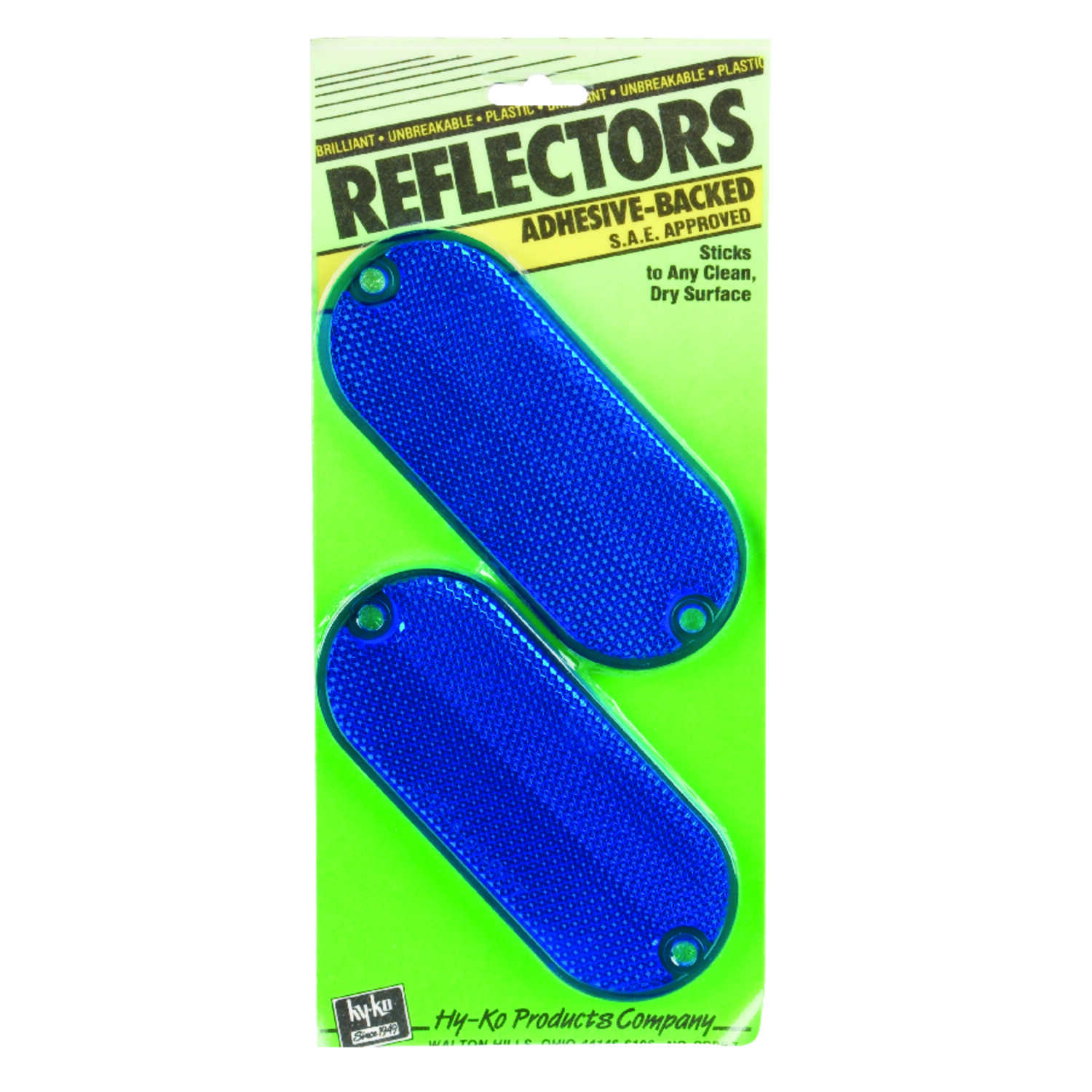 Hy-Ko  8.9 in. Round  Blue  2  Reflectors