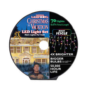 National Lampoon's  LED Concave  8mm Icicle  Commercial Light Set  Multicolored  6-11/16 ft. 70 ligh