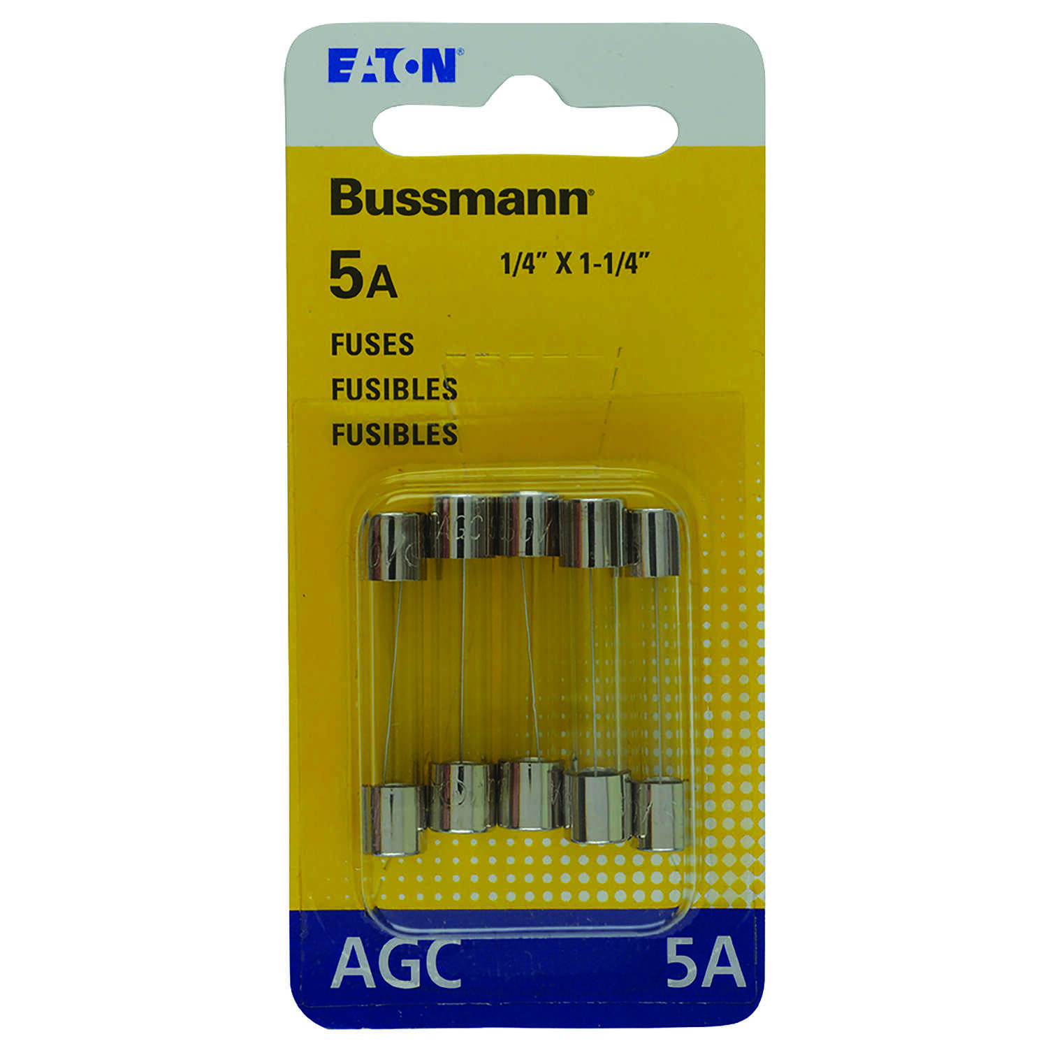 Bussmann  5 amps AGC  Glass Tube Fuse  5 pk