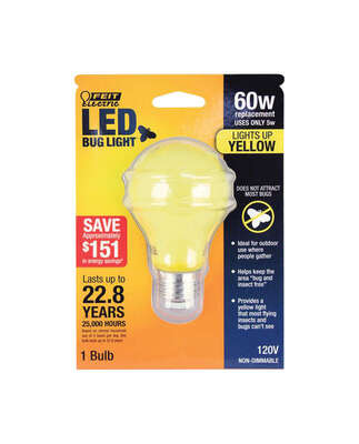 FEIT Electric  A19  E26 (Medium)  LED Bulb  Yellow  60 Watt Equivalence 1 pk