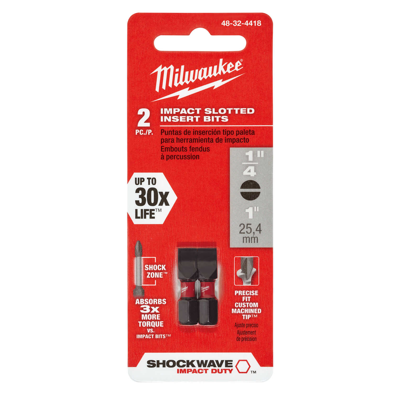 Milwaukee  SHOCKWAVE  Slotted  1/4 in.  x 1 in. L Impact Duty  Insert Bit  Steel  1/4 in. Hex Shank