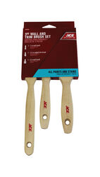 Ace  1, 1-1/2 and 2 in. W Medium Stiff  Assorted  Trim Paint Brush Set