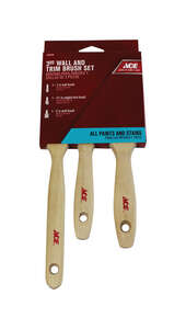 Ace  Medium Stiff  1, 1-1/2 and 2 in. W Polyester  Trim Paint Brush Set  Assorted