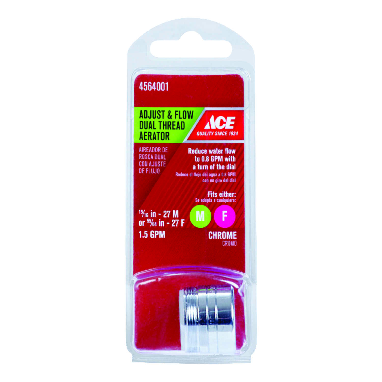 Ace  Chrome  55/64 in.  x 15/16 in.  Dual Thread Aerator  1 pack