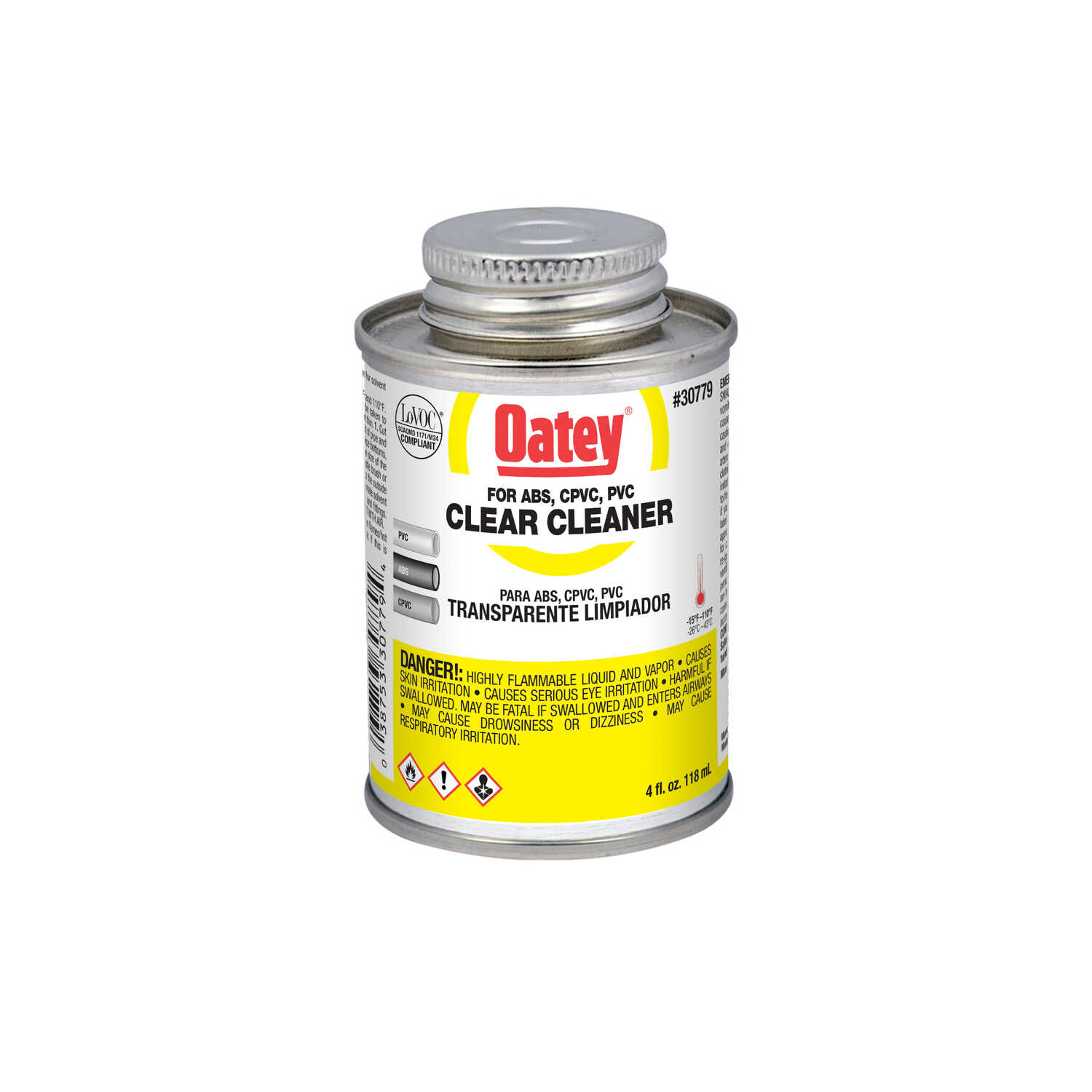 Oatey  Clear  Cement and Cleaner  For ABS/CPVC/PVC 4 oz.