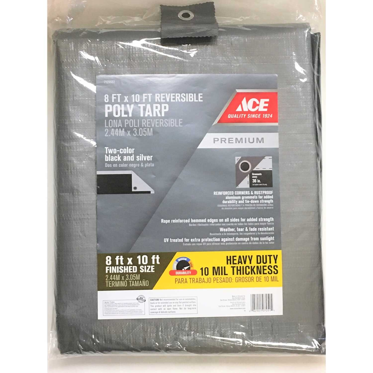 Ace  8 ft. W x 10 ft. L Heavy Duty  Polyethylene  Tarp  Black/Silver