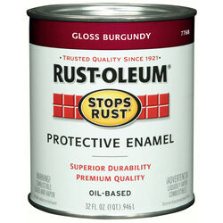 Rust-Oleum Stops Rust Indoor and Outdoor Gloss Burgundy Oil-Based Protective Paint 1 qt.
