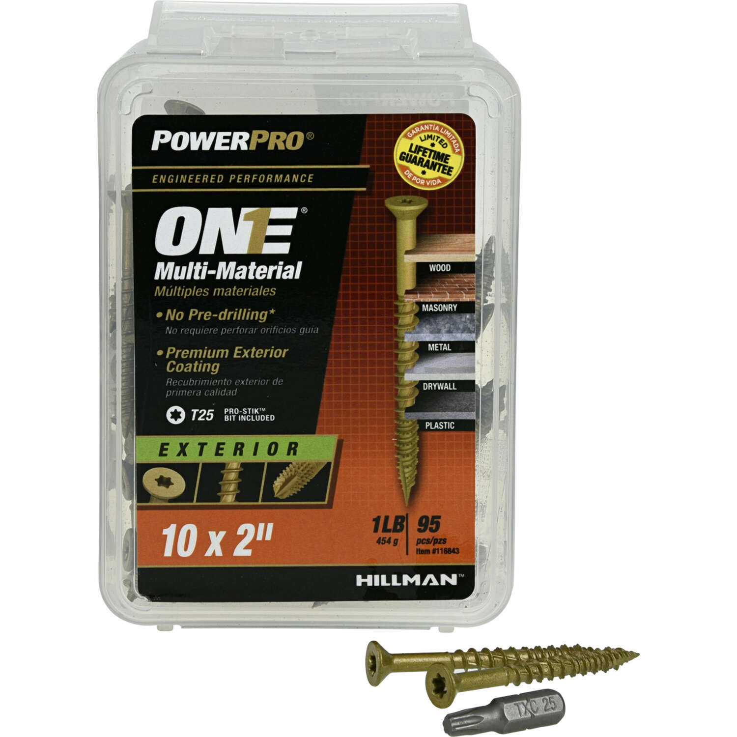 Hillman  POWERPRO ONE  No. 10   x 2 in. L Star  Flat Head Multi-Material Screw  1 lb. 95 pk