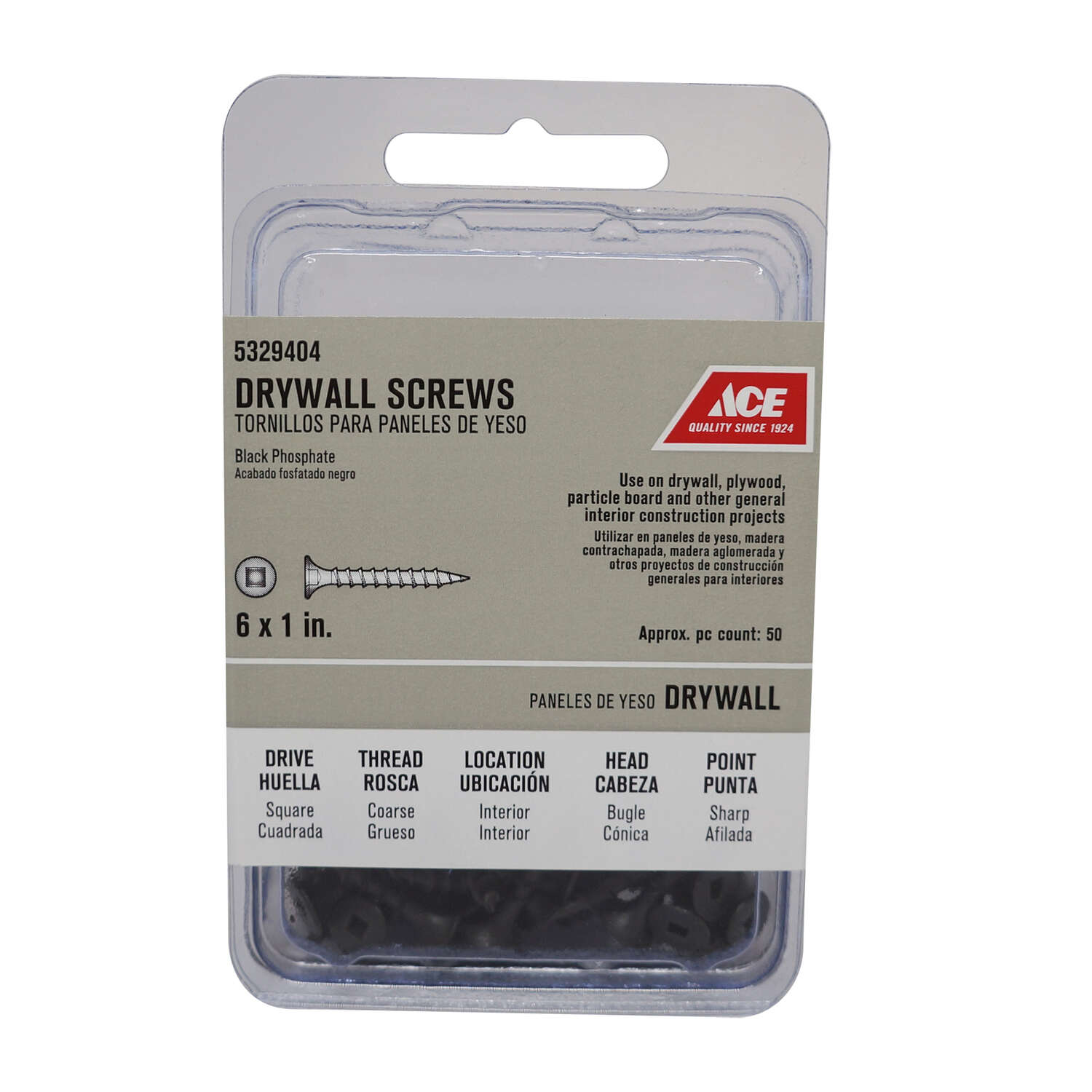 Ace  No. 6   x 1 in. L Square  Drywall Screws  50 pk